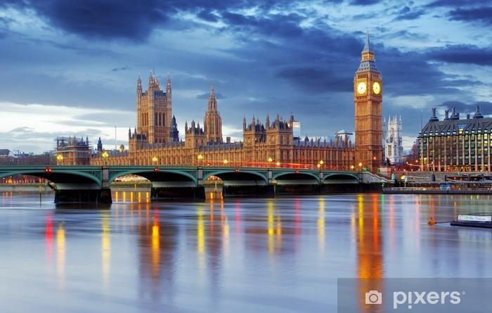 Vinyl Fotobehang Londen - Big Ben en huizen van het parlement, UK -