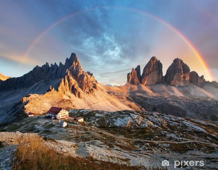 Pixerstick Sticker Dolomieten berg in Italië bij zonsondergang - Tre Cime di Lavaredo - Regenbogen