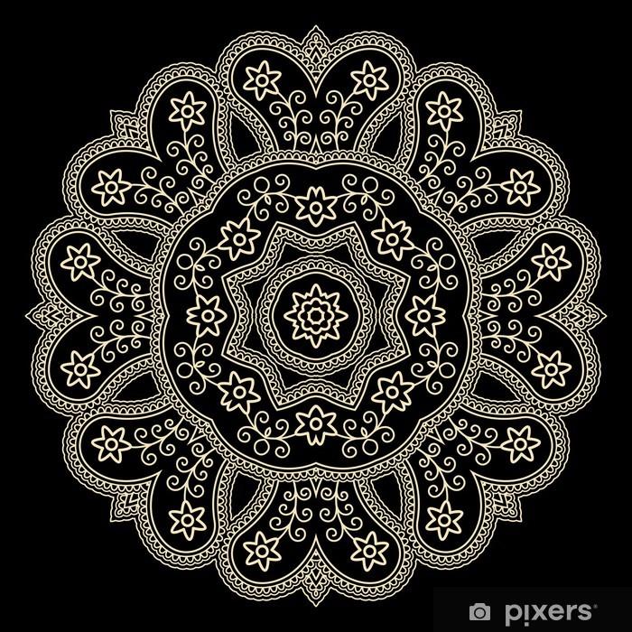 Fotobehang Gouden Kant Kleedje Op Een Zwarte Ronde Haak Ornament