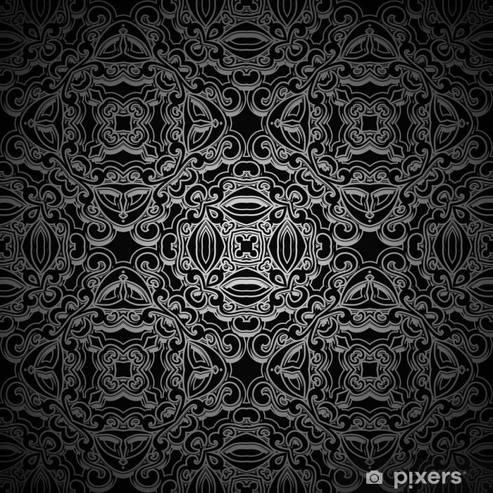 Plakat Ozdobne czarne tło, bez szwu deseń - Tła