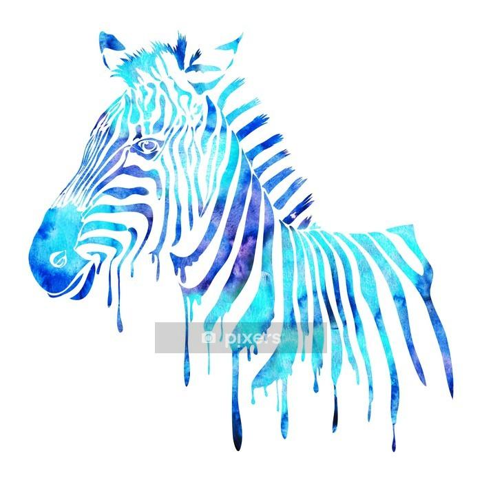 Duvar Çıkartması Suluboya zebra kafası - soyut hayvan illüstrasyon, beyaz - Duvar Çıkartması