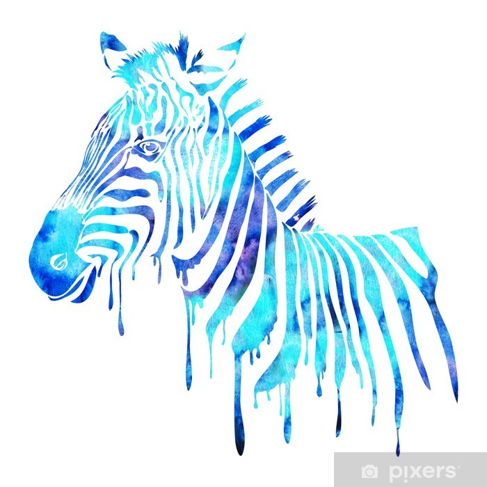 Watercolor zebra head - abstract animal illustration, white Vinyl Wall Mural - Wall decals