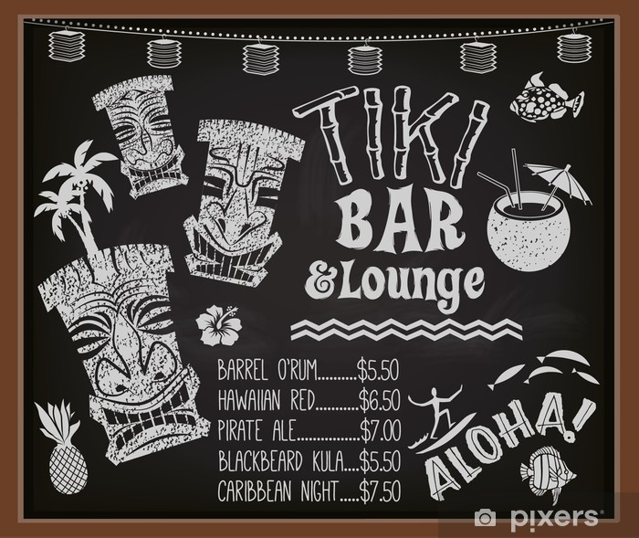 Sticker Pixerstick Tiki Bar and Lounge Tableau Cocktail Menu - Vacances