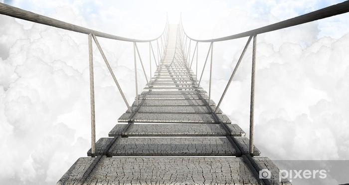 Fototapeta winylowa Most linowy nad chmurami -