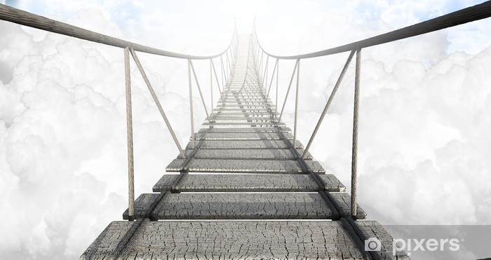 Naklejka Pixerstick Most linowy nad chmurami -