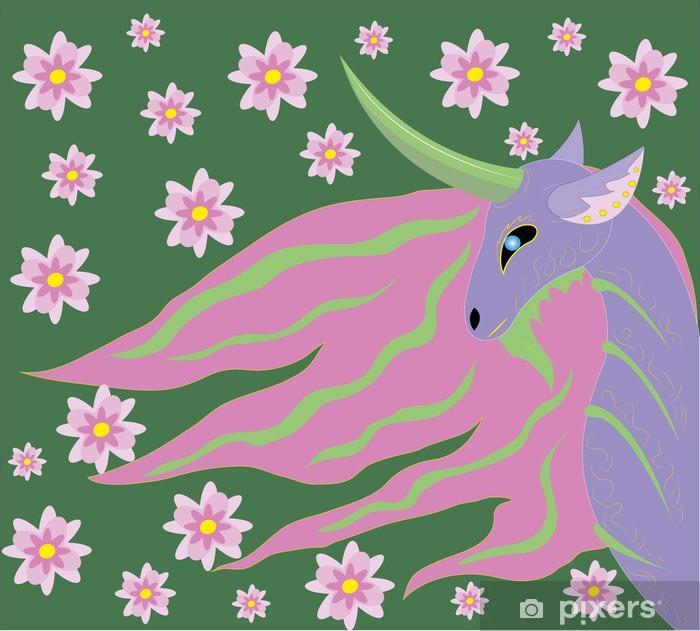 Papier peint vinyle Printemps Licorne - Animaux imaginaires