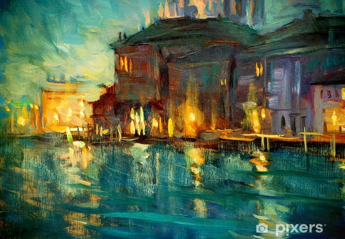night landscape to venice, painting by oil on plywood, illustrat Vinyl Wall Mural - Nature