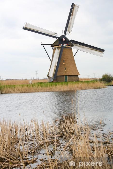 Vinylová fototapeta Holandský větrný mlýn v Kinderdijk, v blízkosti Rotterdamu, Holandsko - Vinylová fototapeta