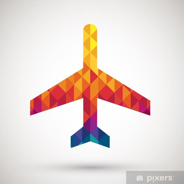 Naklejka Pixerstick Znak lotnisko z kolorowych diamentów - Znaki i symbole