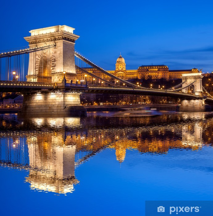 Budapest castle and chain bridge in the evening, Hungary Pixerstick Sticker - Europe