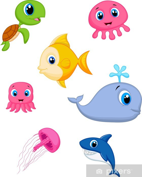 Papier peint vinyle Cartoon set Sea life - Autres Autres