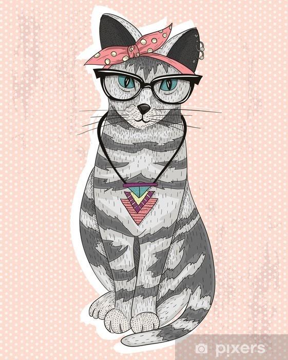 Fotomural Estándar Lindo inconformista gato rockabilly con pañuelo en la cabeza, gafas y collar -