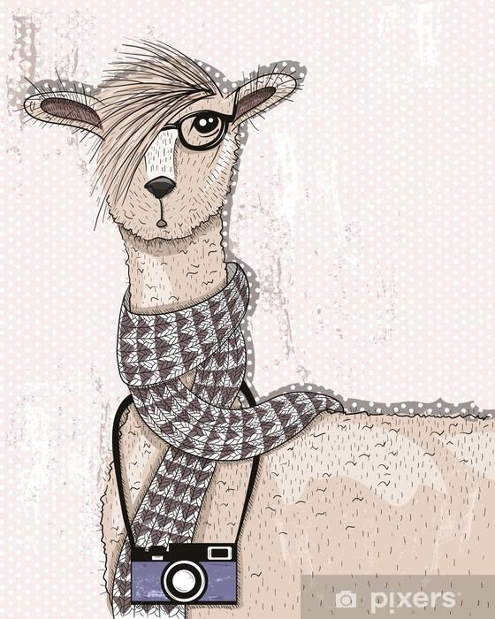 Naklejka Pixerstick Śliczne hipster lama z aparatu fotograficznego, okulary i szalik - Zwierzęta