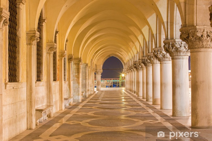 Venice - Exterior corridor of Doge palace in dusk. Vinyl Wall Mural - Themes