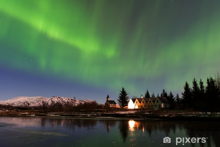 Northern lights at Thingvellir Washable Wall Mural - Nature and Wilderness