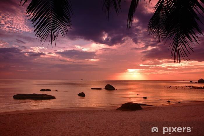 Fototapeta samoprzylepna Zachód słońca na plaży w Tajlandii - Palmy