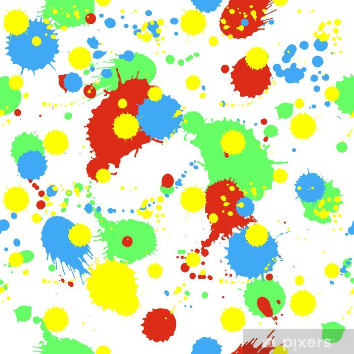 Seamless pattern with colorful splashes, blobs and stains Vinyl Wall Mural - Themes