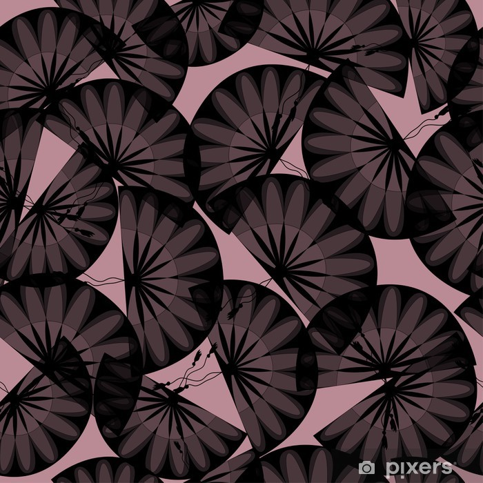 Autocolante Pixerstick Abstract Seamless Black Fans - Fundos