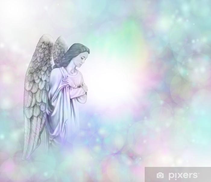 Angel on soft misty bokeh frame background Framed Poster - Themes