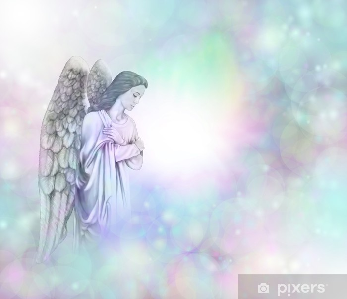 Pixerstick-klistremerke Angel on soft misty bokeh frame background - Themes