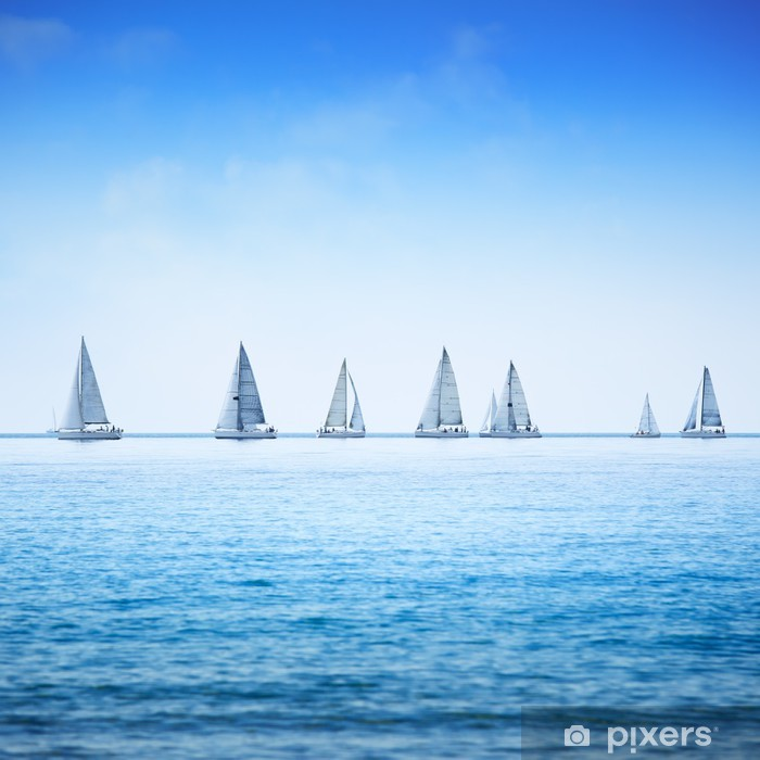 Sailing boat yacht regatta race on sea or ocean water Poster - Sea and ocean