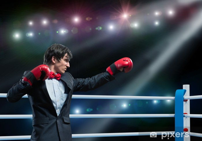 businessman with boxing gloves in the ring Pixerstick Sticker - Themes