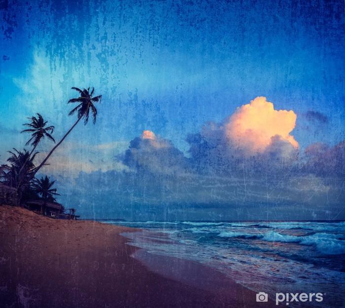 Plakat Zachód słońca na tropikalnej plaży - Wakacje