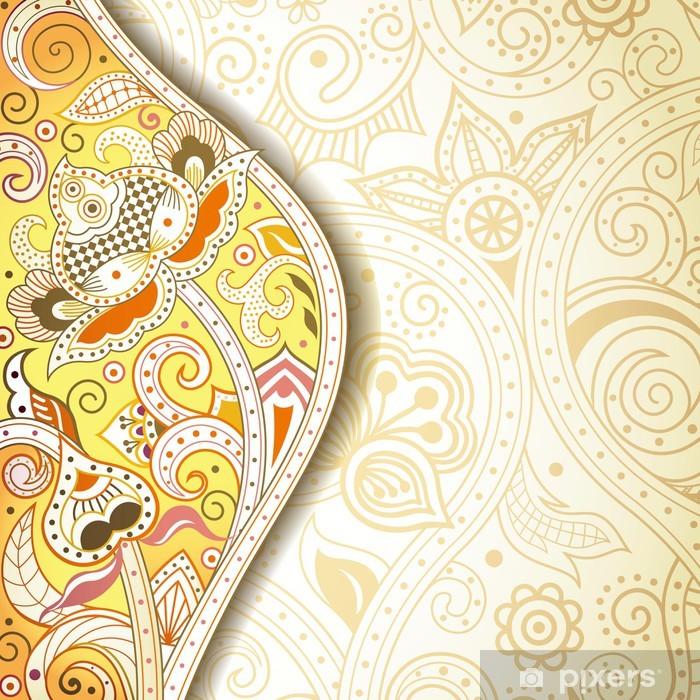 Papier peint vinyle Résumé fond jaune Floral - Arrière plans