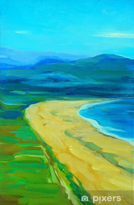 Can Yağ Ile Bir Plaj Ve Dağ Boyama Deniz Manzara Duvar Resmi