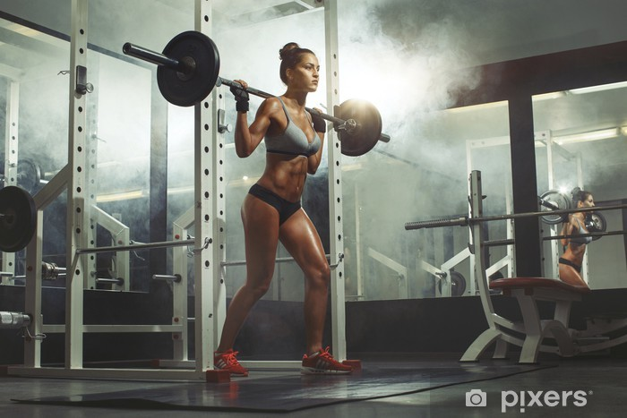 Woman lifting weight in gym Vinyl Wall Mural - Destinations