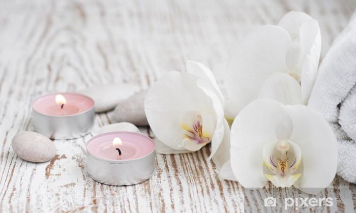 Kylpylävalikoima valkoisine orkideineen Pixerstick tarra - Styles