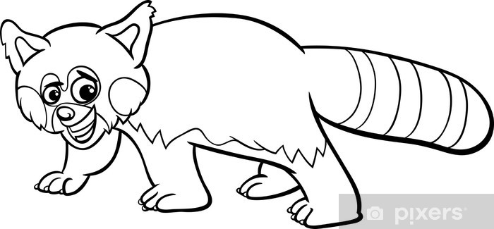 Kirmizi Panda Karikatur Boyama Cikartmasi Pixerstick Pixers