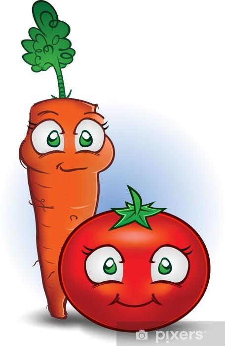 Vinilo Zanahoria Y Tomate Personajes De Dibujos Animados De Verduras Pixerstick