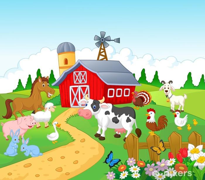 Fotomural Estándar Fondo granja con animales - Para niña