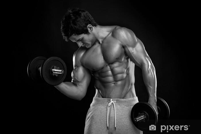 Papier peint Musculaire culturiste gars faire des exercices avec des haltères  sur bla 88d11932712