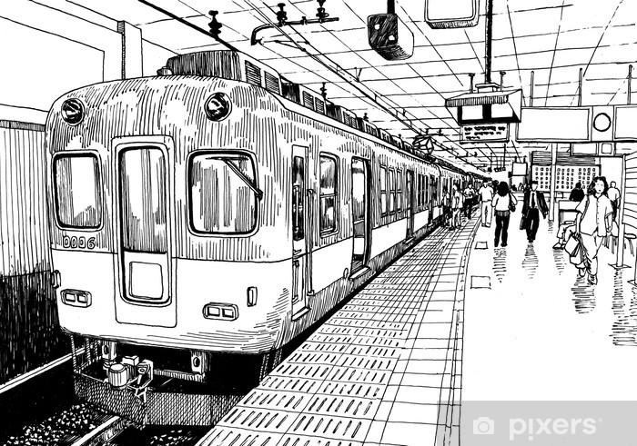 Papier peint vinyle Japon métro quai de la gare de train à Osaka dessin croquis d'encre s - iStaging