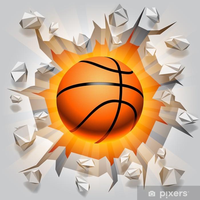 Papier peint vinyle Ballon de basket et de mur fissuré. - Basket-Ball