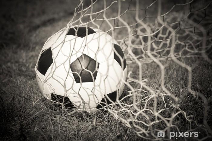 Fototapeta winylowa Czarno-biały: Piłka w cel netto - Sport
