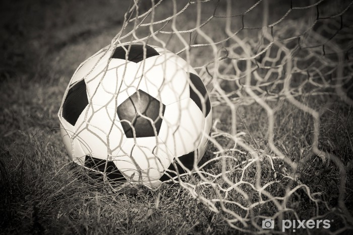 Black and white : Soccer ball in the goal net Pixerstick Sticker - Sport