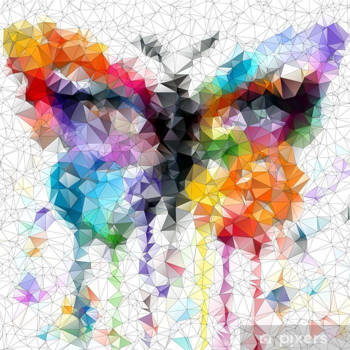 Pixerstick Sticker Multicolor heldere vlinder abstracte geometrische achtergrond - Stijlen
