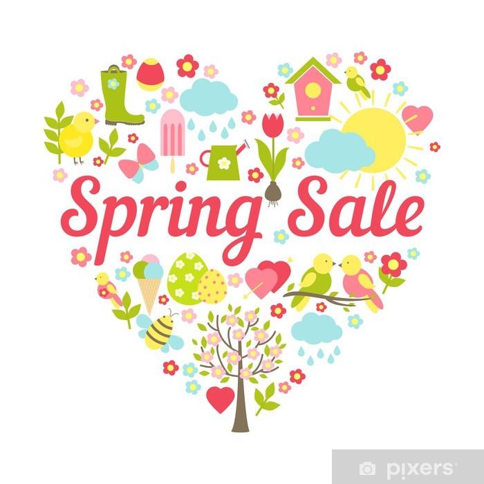 Fototapeta winylowa Sprzedaż wiosna serce - Kwiaty