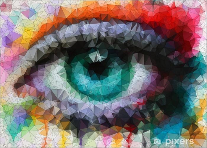 Fototapeta winylowa Piękne oczy w geometryczne stylizacji abstrakcyjne geometryczne tle -