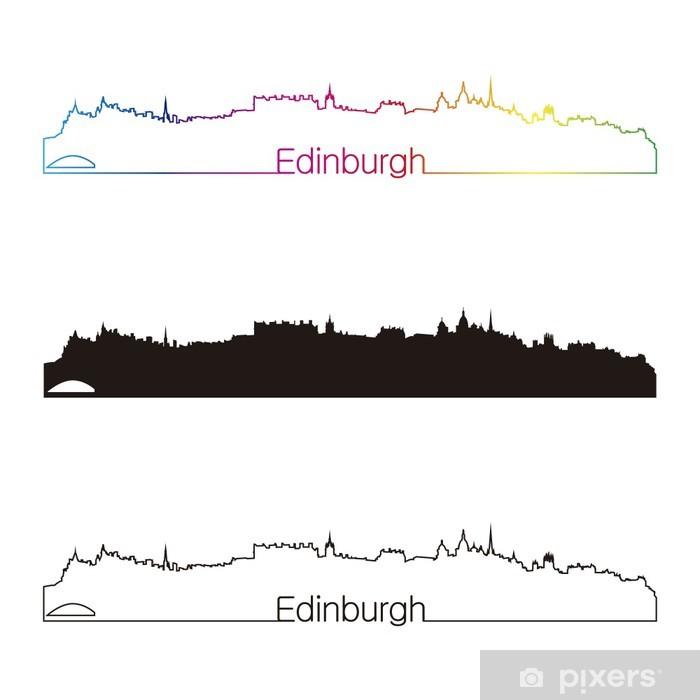 Plakat Edynburg panoramę liniowy styl z rainbow - Europa