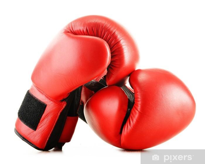 Fototapeta winylowa Skórzane rękawice bokserskie na białym tle - Artykuły sportowe