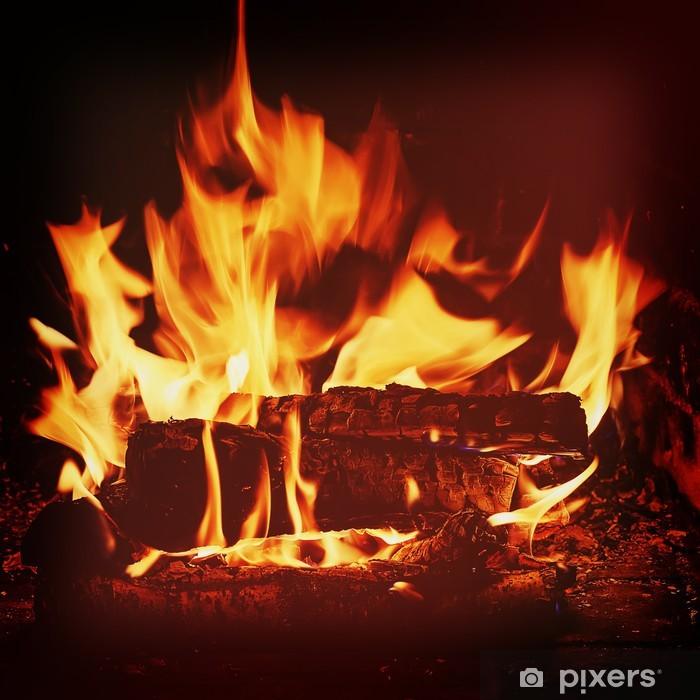 Poster Cheminée avec bois de bouleau et de la flamme. - Construction privée