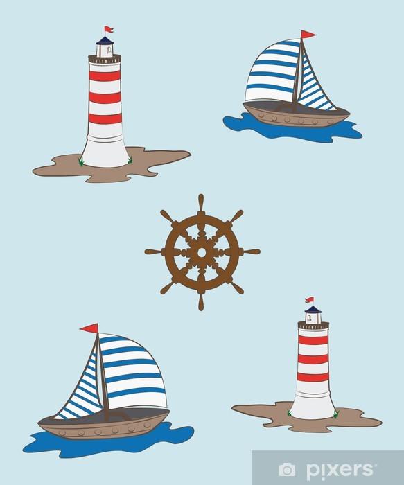 Sticker Pixerstick Composition d'une barre voilier, la mer et le phare - Maisons et jardins