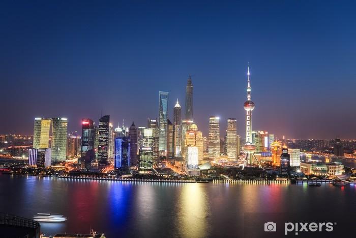 Vinilo Pixerstick Shanghai Lujiazui vista nocturna - Urbano