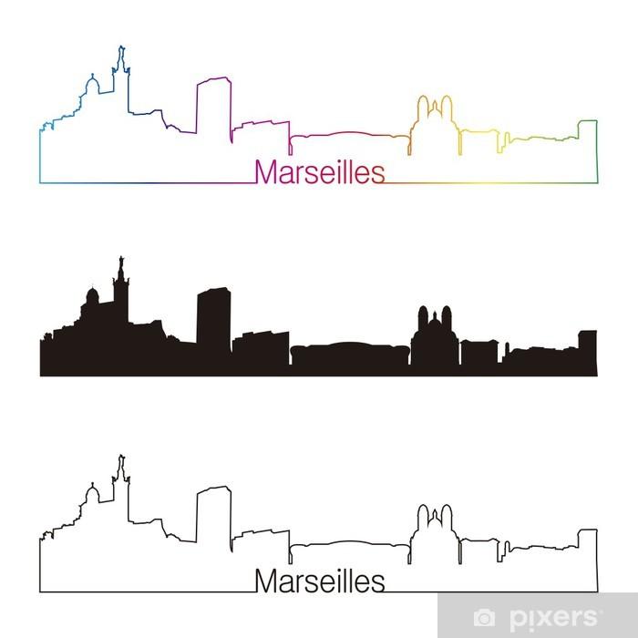 Pixerstick Sticker Marseille skyline lineaire stijl met regenboog - Europa
