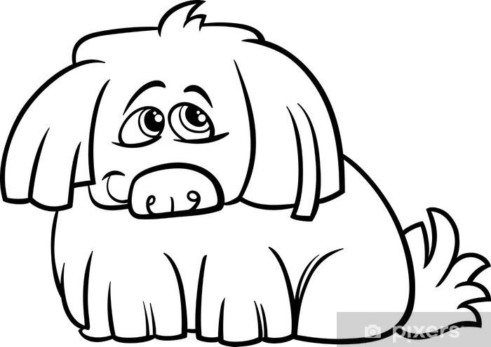 Fotomural Página para colorear de dibujos animados lindo perro ...