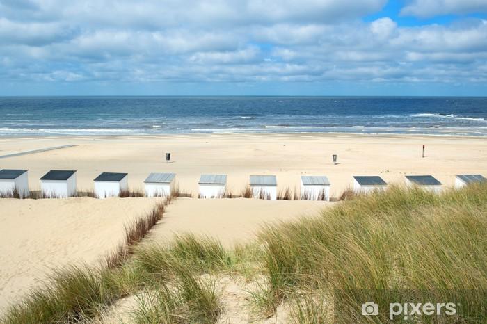 Afwasbaar Fotobehang Blauw strand hutten op Texel - Vakantie